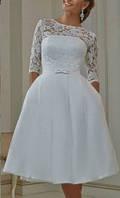 Свадебное платье винтажное по колено кружевное с рукавами 3/4 на роспись венчание СВ-2239