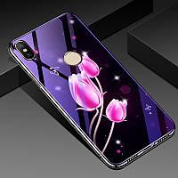 Чехол Glass-Case для Xiaomi Mi 8 бампер оригинальный Flowers