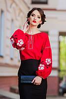 Яркая женская вышиванка красного цвета в стиле бохо Ж24-261, фото 1