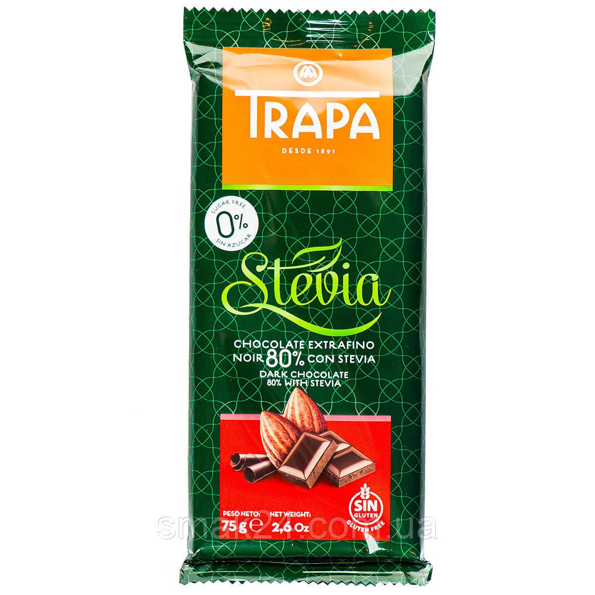 Шоколад черный  без сахара и без глютена Trapa Stevia 80% какао 75г Испания