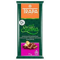 Шоколад молочний без цукру і без глютену Trapa Stevia з повітряним рисом 75г Іспанія