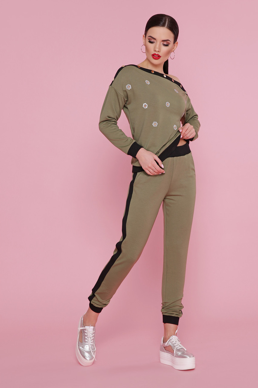 Женский спортивный костюм прогулочный хаки