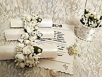Свадебные пригласительные в свитках Изысканность (белые). Цена за 1 пригласительный.