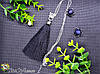 Подвеска кулон СОТУАР BLACK черный цвет кисть кисточки длинные висячие вечернее серьги Кисти черная нить , фото 2