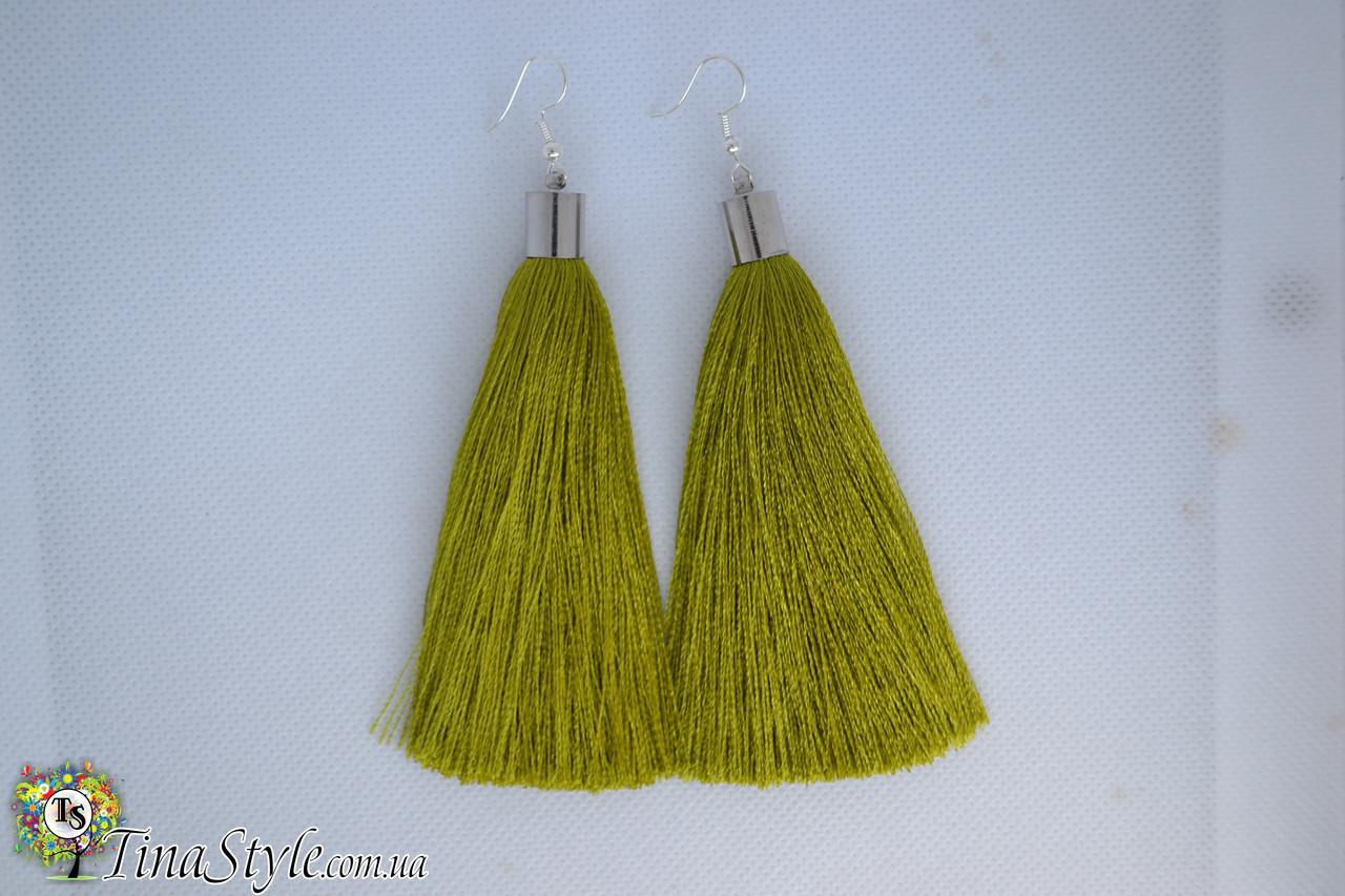 Серьги сережки кисточки оливковые оливковый цвет кисть зеленые длинные висячие вечернее кисти зеленый цвет