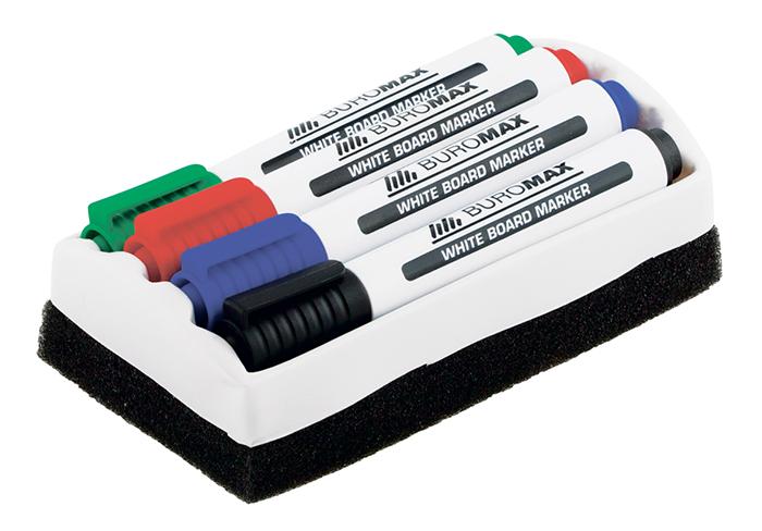 Комплект: 4 маркери + губка для магнітних дошок сухостираємих