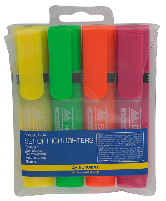 Комплект: 4 флуоресцентних текст-маркера