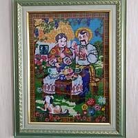 """Картина вышитая бисером """"Корали для кумы"""", Украинский сувенир."""