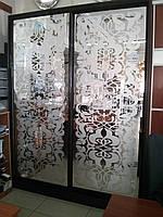 Шкаф-купе с матовым рисунком на зеркале Премиум серии