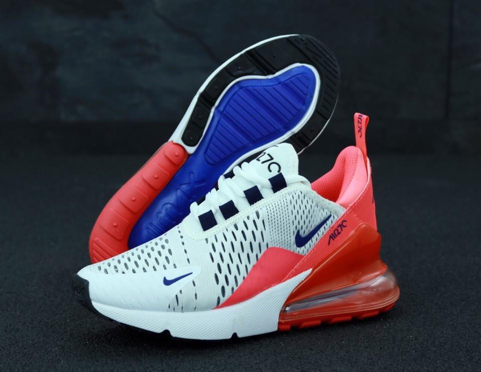d5f2d279 Женские кроссовки Nike Air Max 270 x White Pink Blue - Магазин стильной  одежды OFF
