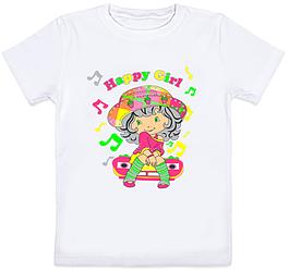 """Детская футболка """"Happy Girl"""" (белая)"""