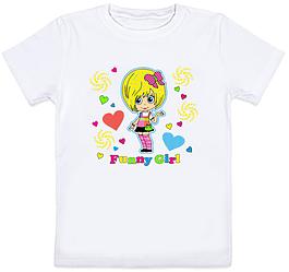 """Детская футболка """"Funny Girl"""" (белая)"""
