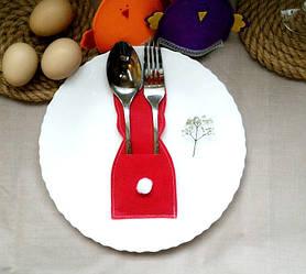Заяц пасхальный для столовых приборов Красный