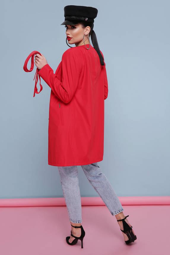 Модный женский красный плащ с поясом, фото 2