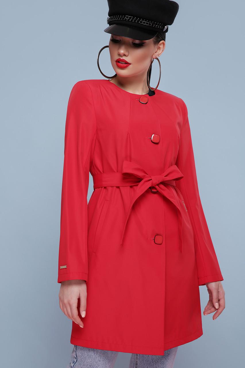 Модный женский красный плащ с поясом