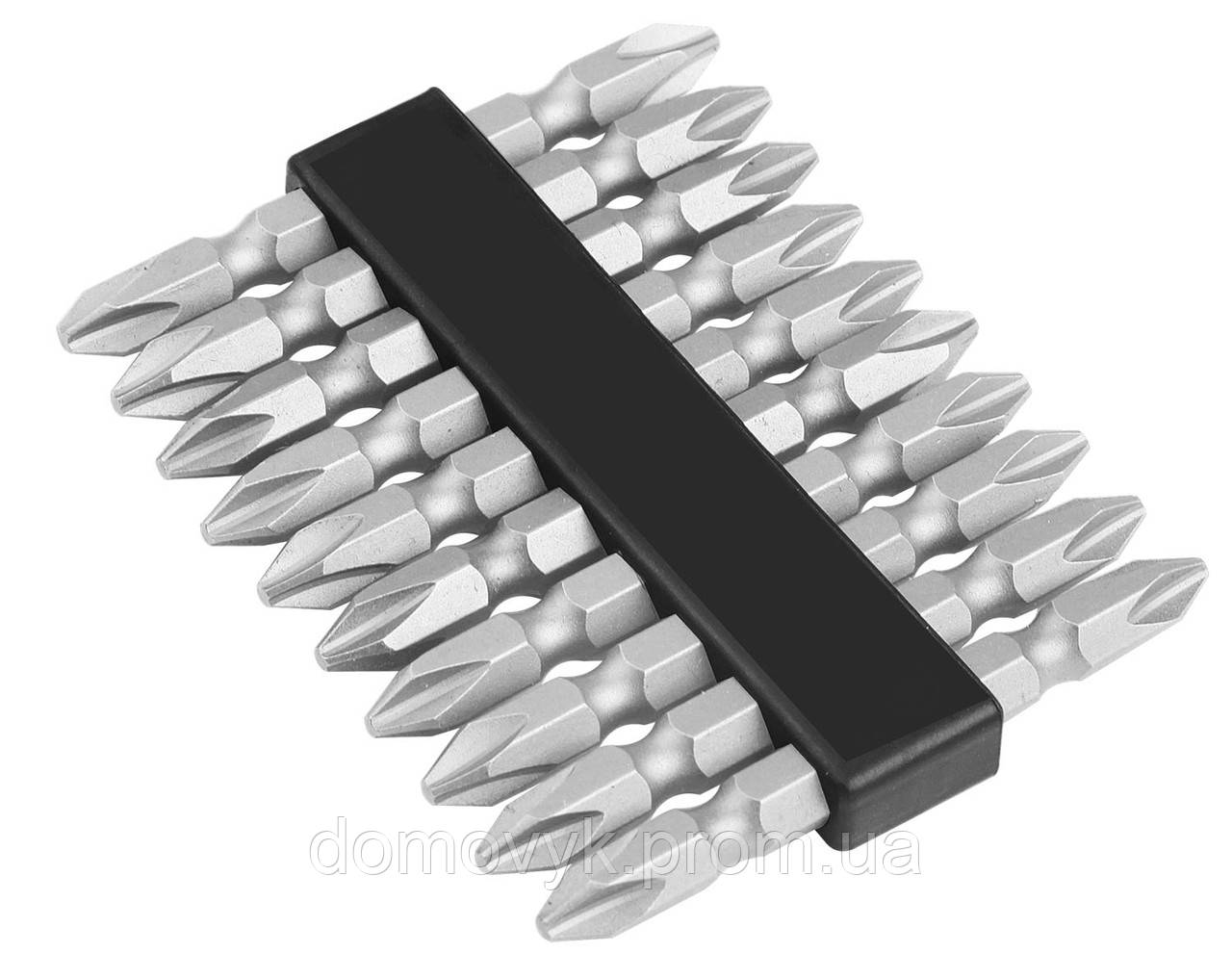 Биты двухсторонние S2 крестовые РН 2х65 мм, 10шт Tolsen (20360)