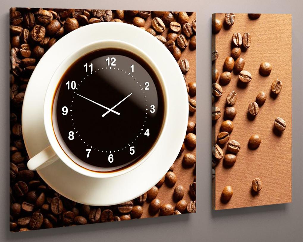Картина з годинником на кухню 100х60