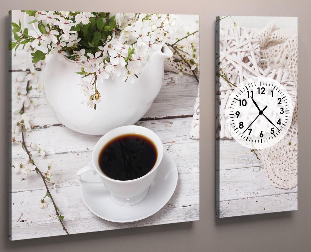 Модульная картина часы для кухни кофе 100х60