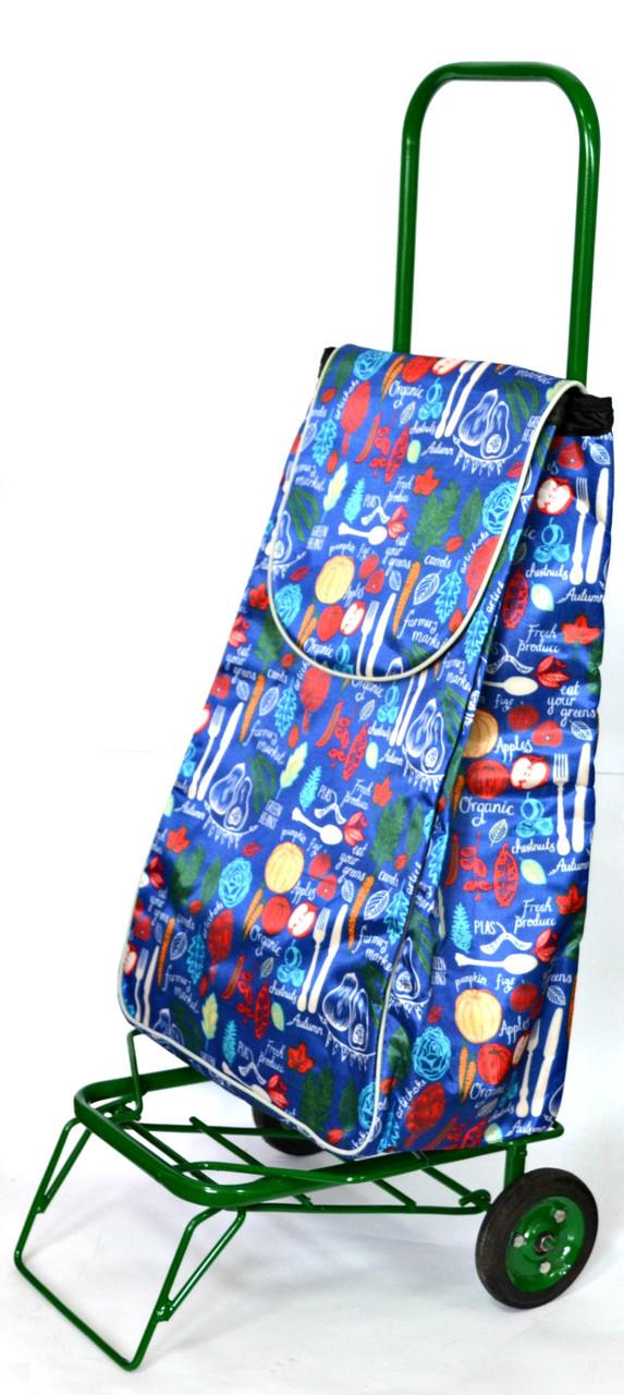 Усиленная хозяйственная сумка тележка на колесах с подшипниками Синяя ложки вилки (0073)