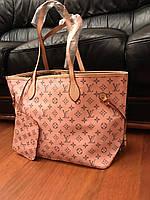 Женская сумка шоппер в стиле LOUIS VUITTON (Луи Виттон), розовый цвет
