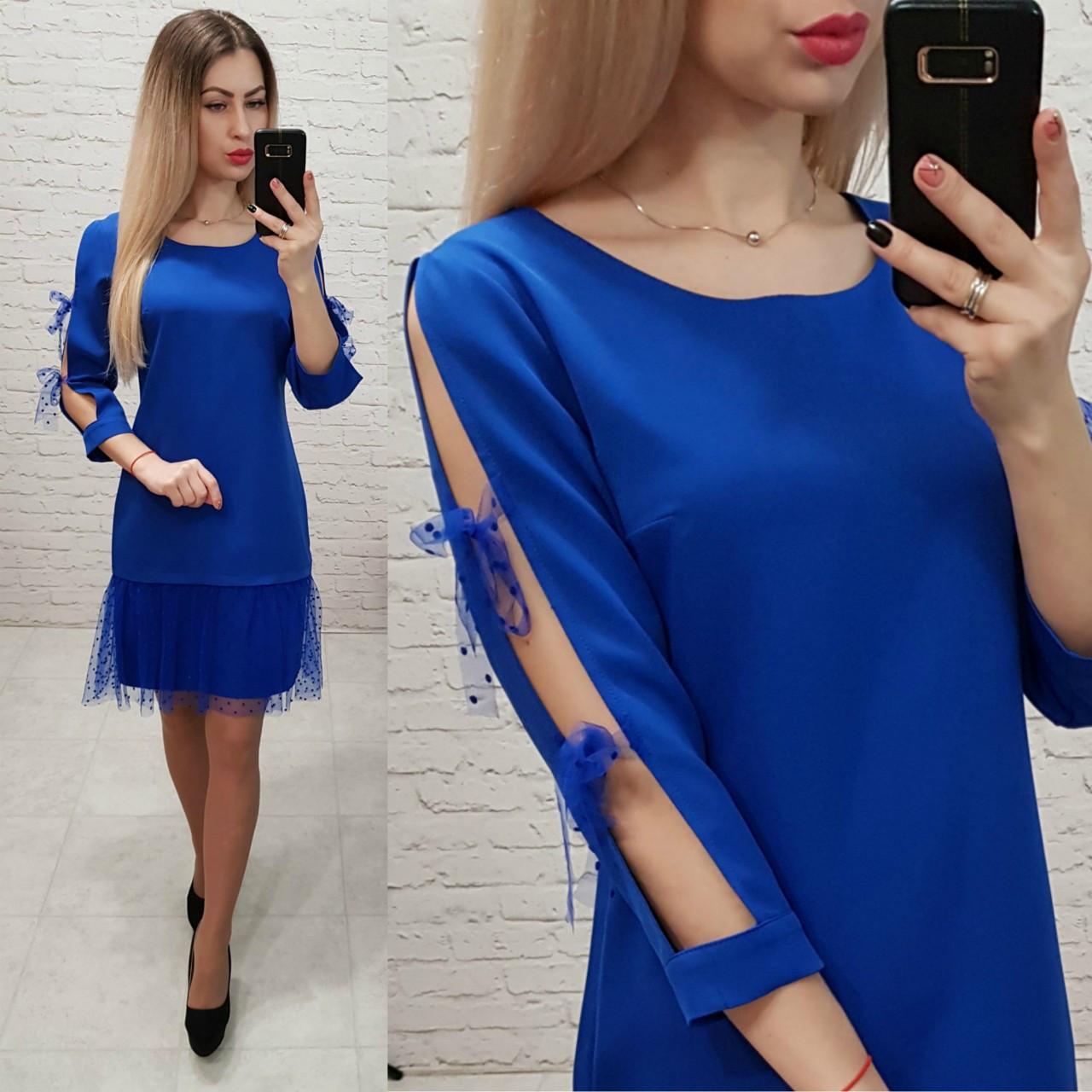 Платье женское, креп+сетка, модель 154, в 6-ти расцветках
