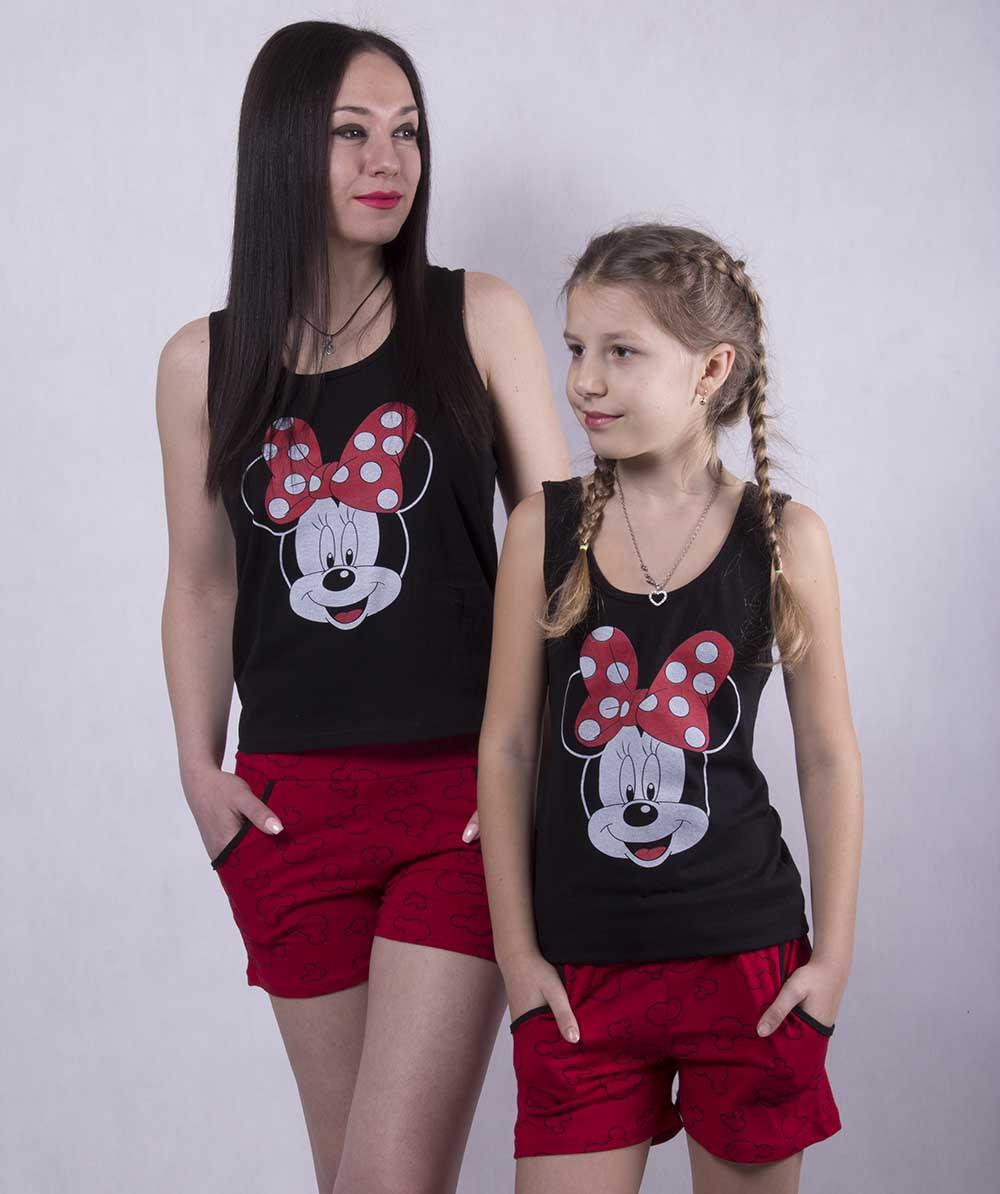 """Набор пижам мама+ребенок """"Minnie"""" р. (36,38,40) + (42,46,50)"""