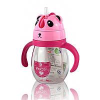 Детская бутылочка поилка для воды с ручками Panda розовая 132002