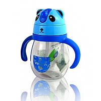 Детская бутылочка поилка для воды с ручками Panda синяя 148914