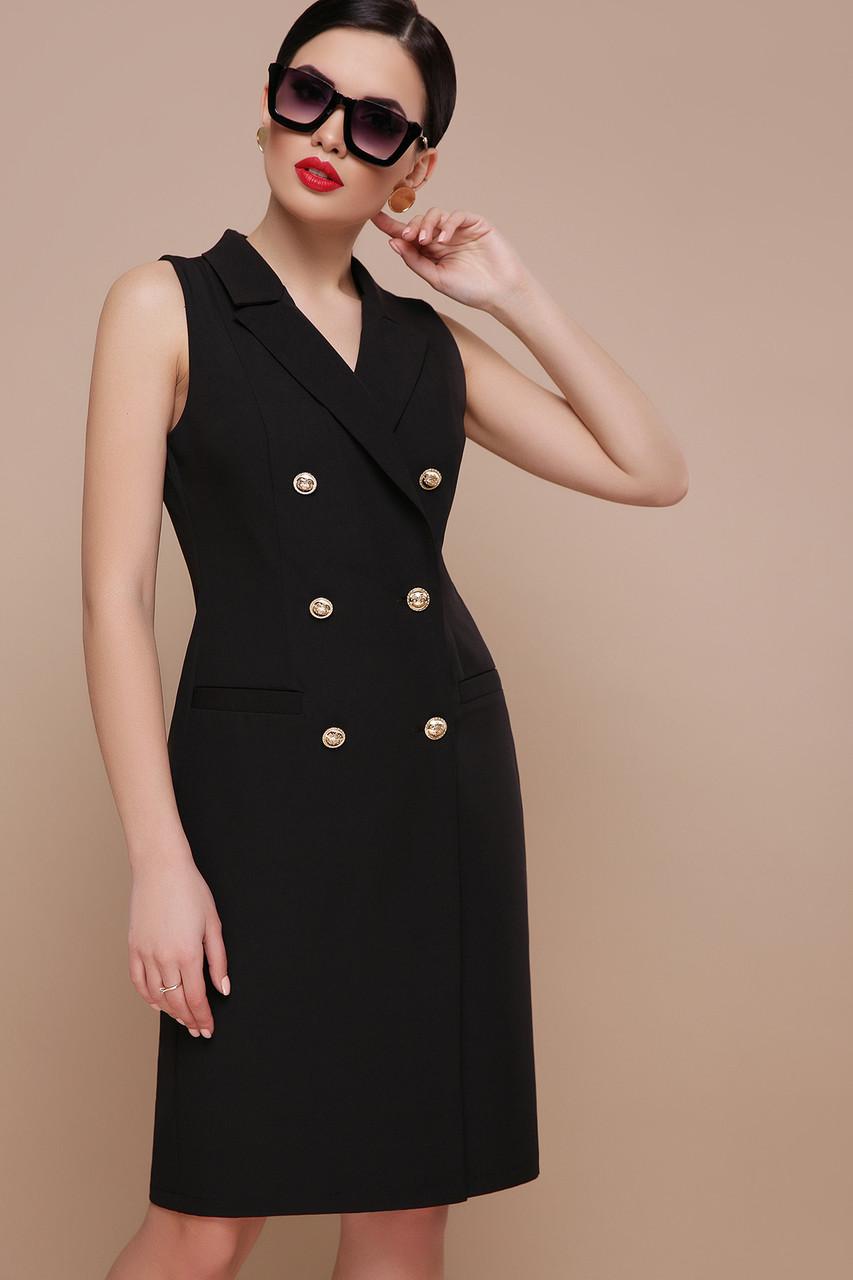 Черное платье жилет миди