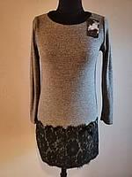 Модное женское короткое платье люрекс
