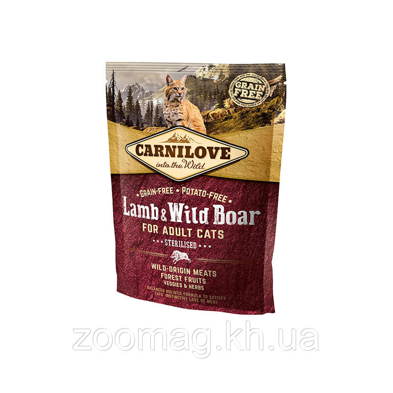 "Сухой корм Carnilove Cat Lamb & Wild Boar Sterilised ""Ягненок и дикий кабан"" 39/14 (для стерилизованных кошек), 400 гр"