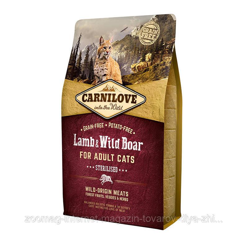 """Сухой корм Carnilove Cat Lamb & Wild Boar Sterilised """"Ягненок и дикий кабан"""" 39/14 (для стерилизованных кошек), 2 кг"""