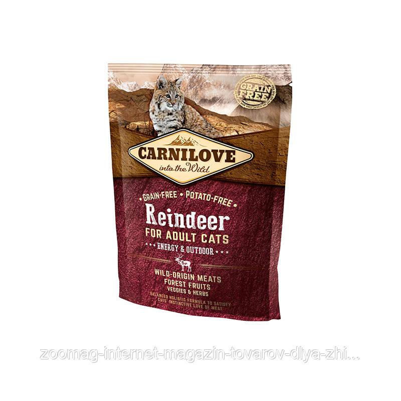 """Сухой корм Carnilove Cat Raindeer Energy & Outdoor """"С мясом северного оленя"""" 41/19 (для активных кошек), 400 гр"""