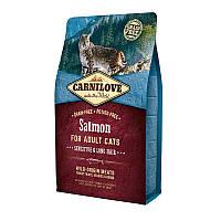 "Сухой корм Carnilove Cat Salmon Sensitive & Long Hair ""Лосось"" 36/17 (для красивой шерсти кошек), 2 кг"