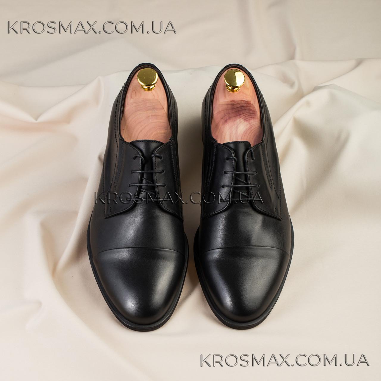 Мужские чёрные кожаные туфли (дерби, оксфорды) ікос/ikos