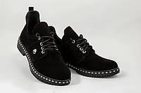 Туфли женские из натуральной кожи чёрный (W1-black)