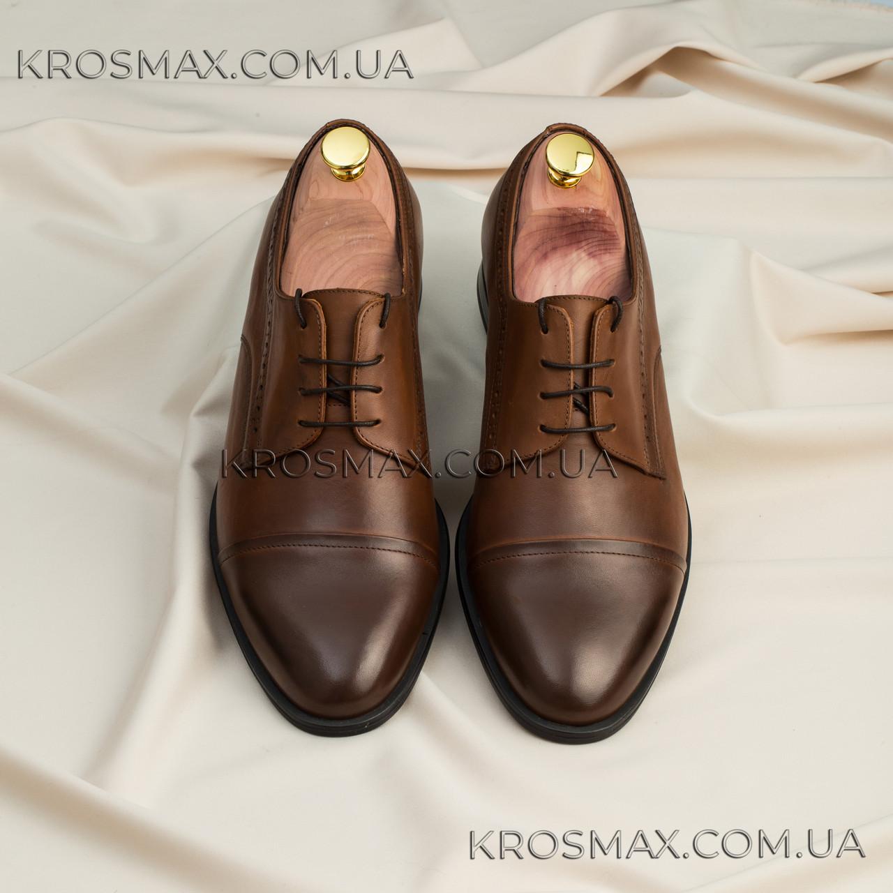 Мужские коричневые кожаные туфли (дерби, броги, оксфорды) ікос/ikos
