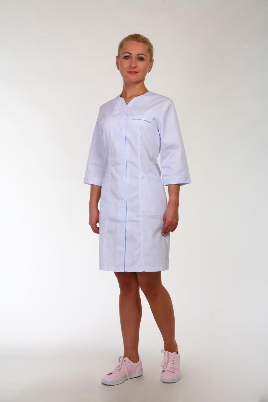 Коттоновый жіночий білий халат для медиків