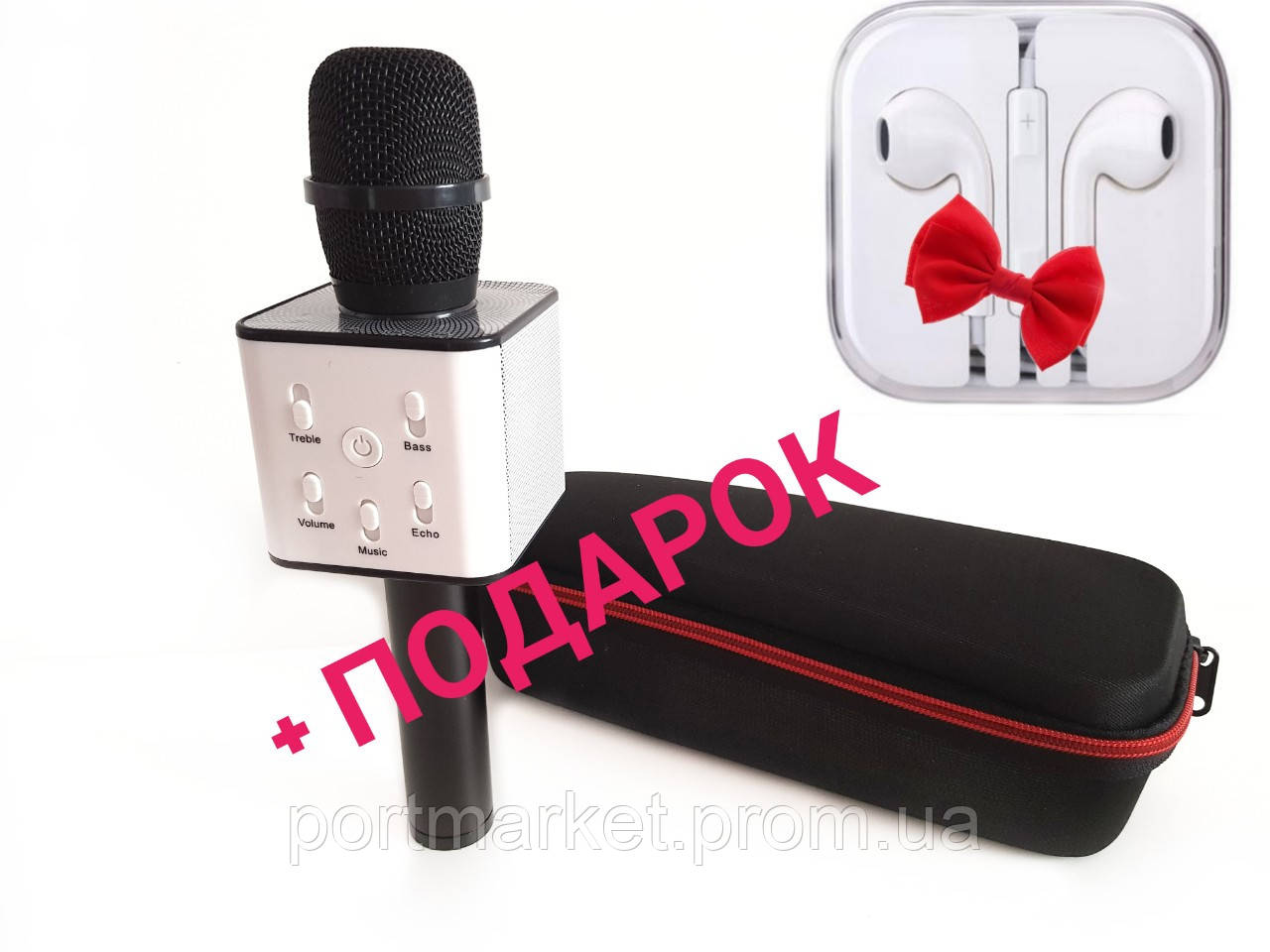 В чехле  Q7.Беспроводной Bluetooth караоке микрофон.