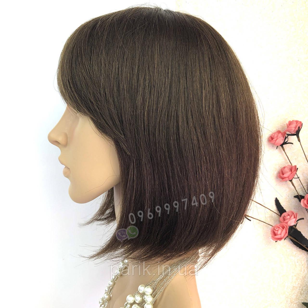 💎 Парик из натуральных волос каре с чёлкой коричневый женский 💎