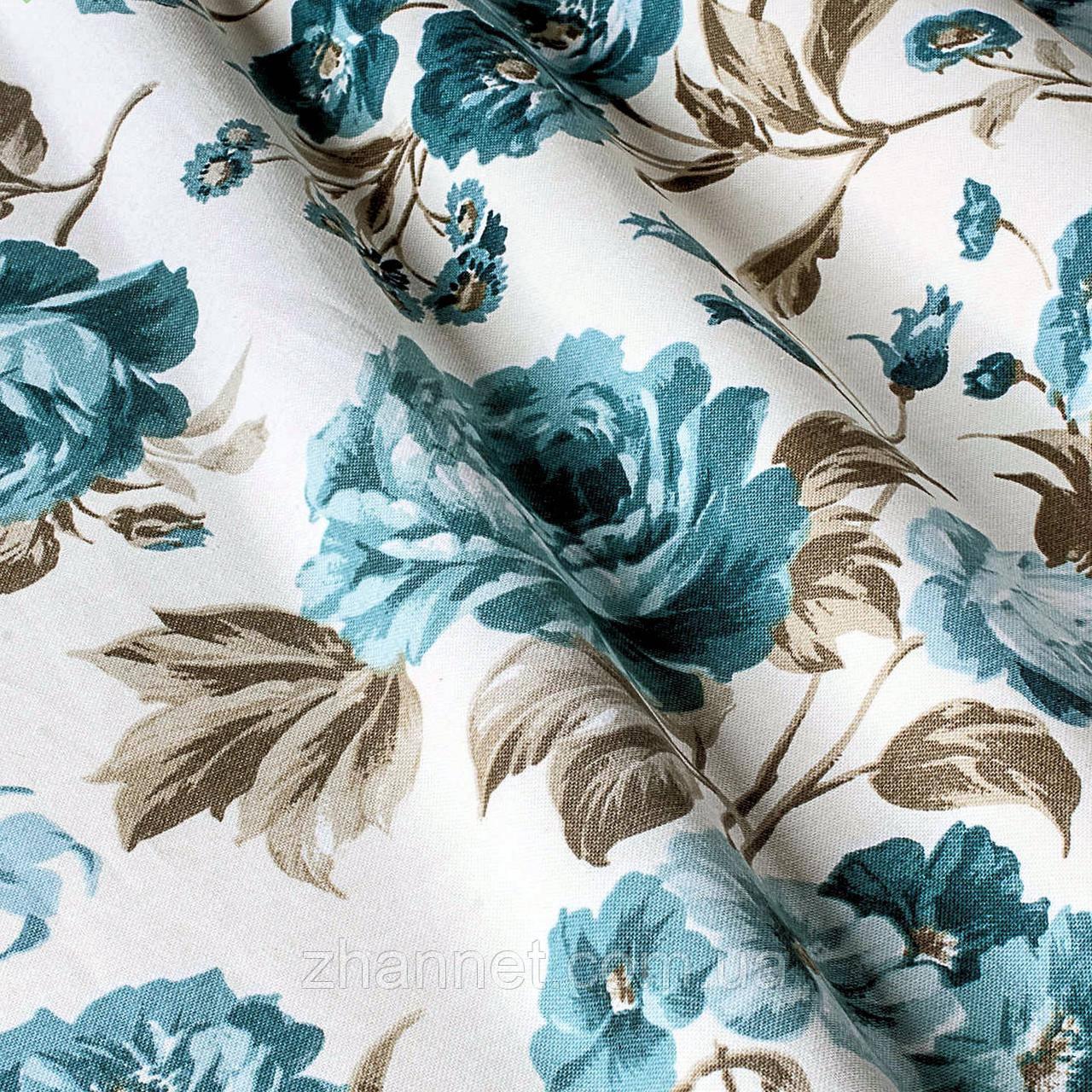 Ткань для штор Marion Розы бирюза 180 см (1210431)