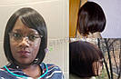 💎 Парик из натуральных волос каре с чёлкой коричневый женский 💎, фото 5