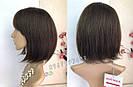 💎 Парик из натуральных волос каре с чёлкой коричневый женский 💎, фото 2