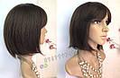 💎 Парик из натуральных волос каре с чёлкой коричневый женский 💎, фото 3