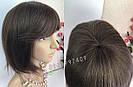 💎 Парик из натуральных волос каре с чёлкой коричневый женский 💎, фото 4