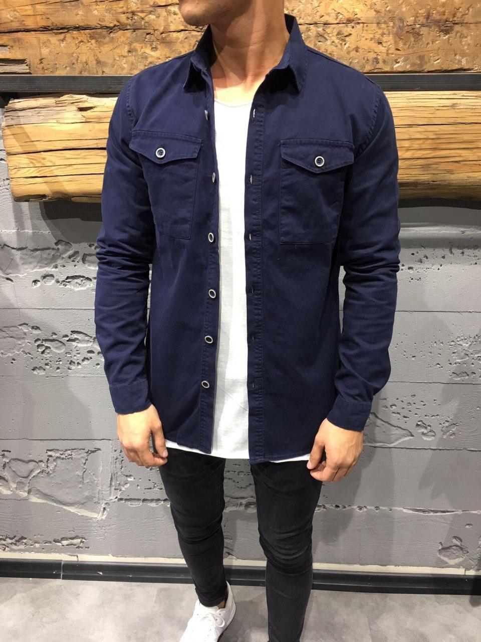 😜Мужская рубашка из хлопка синего цвета