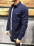 😜Мужская рубашка из хлопка синего цвета, фото 2