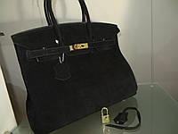 Женская сумка от Hermes 35 см замш черный Original quality Гермес Биркин Эрме