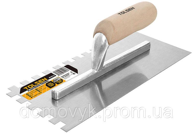 Затирка стальная 280х120 мм зуб 10 мм деревяная ручка Tolsen (41013)