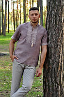 Льняная мужская вышиванка со стойкой и коротким рукавом М08к-286